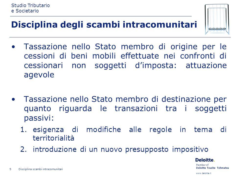 Member of Deloitte Touche Tohmatsu www.deloitte.it Studio Tributario e Societario Disciplina scambi intracomunitari 5 Disciplina degli scambi intracom