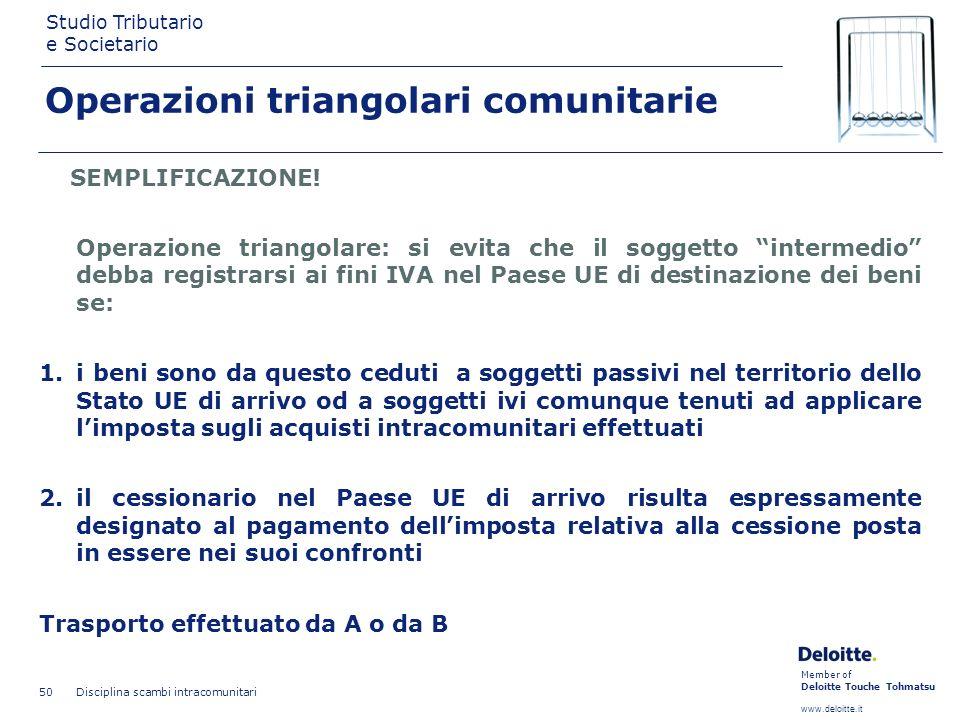 Member of Deloitte Touche Tohmatsu www.deloitte.it Studio Tributario e Societario Disciplina scambi intracomunitari 50 Operazioni triangolari comunita