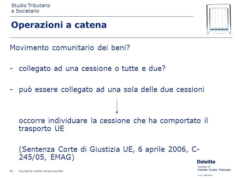 Member of Deloitte Touche Tohmatsu www.deloitte.it Studio Tributario e Societario Disciplina scambi intracomunitari 52 Operazioni a catena Movimento c