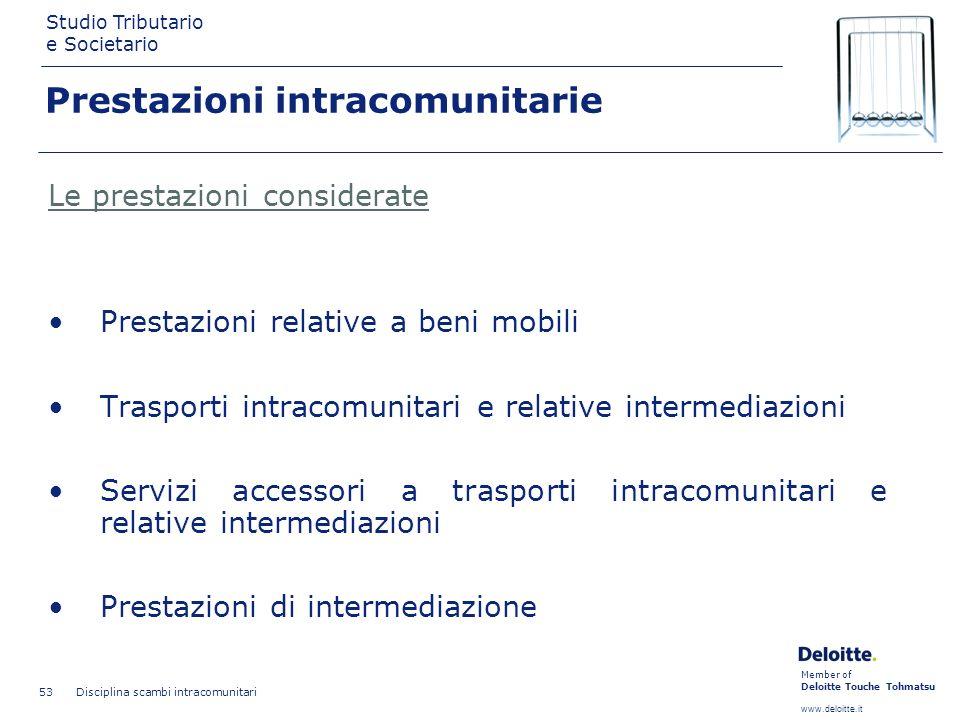Member of Deloitte Touche Tohmatsu www.deloitte.it Studio Tributario e Societario Disciplina scambi intracomunitari 53 Prestazioni intracomunitarie Le