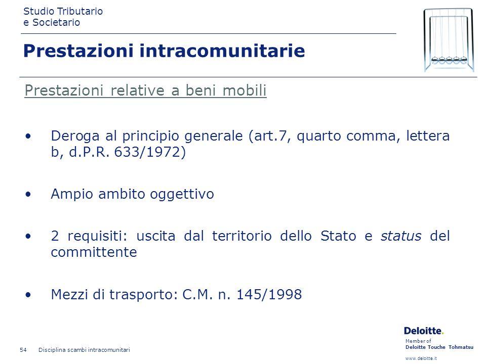 Member of Deloitte Touche Tohmatsu www.deloitte.it Studio Tributario e Societario Disciplina scambi intracomunitari 54 Prestazioni intracomunitarie Pr