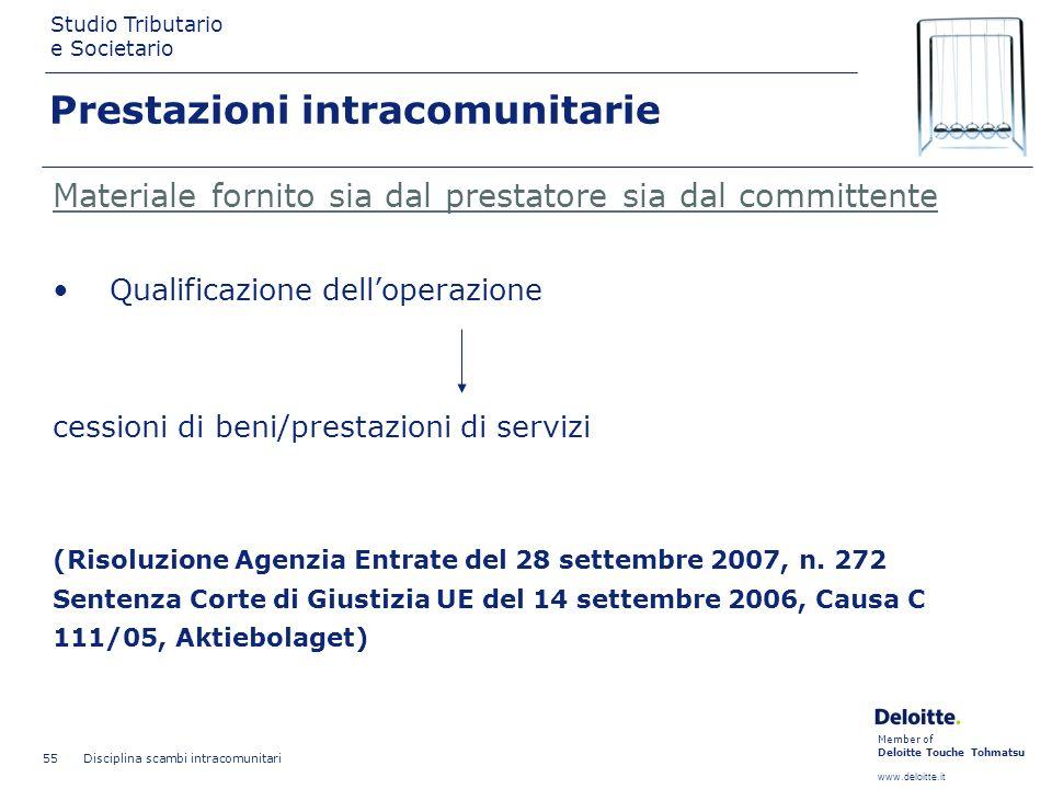 Member of Deloitte Touche Tohmatsu www.deloitte.it Studio Tributario e Societario Disciplina scambi intracomunitari 55 Prestazioni intracomunitarie Ma