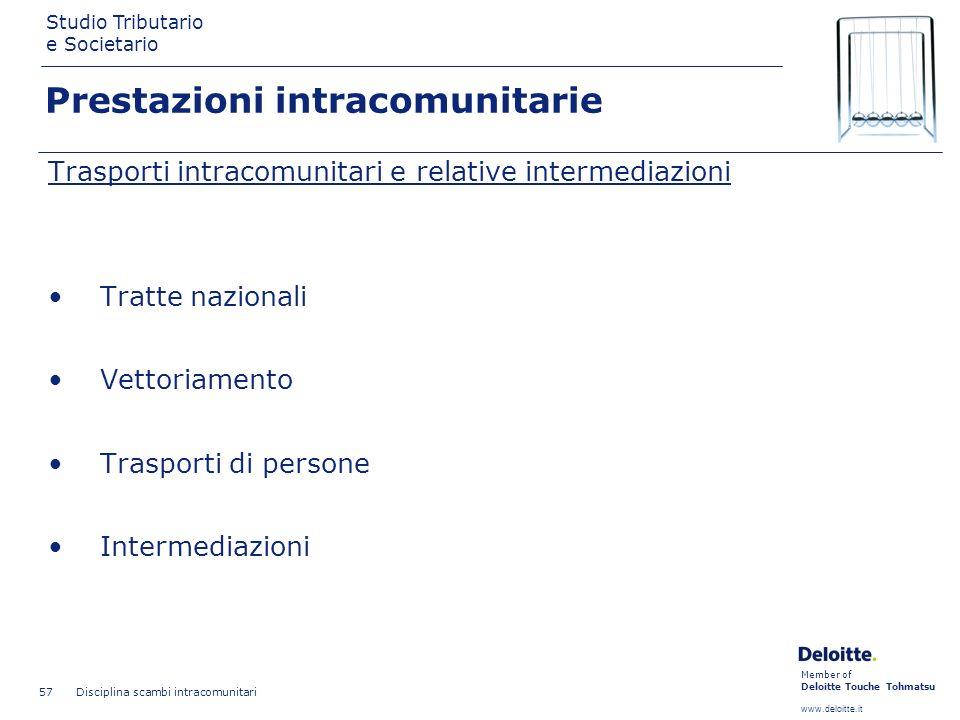 Member of Deloitte Touche Tohmatsu www.deloitte.it Studio Tributario e Societario Disciplina scambi intracomunitari 57 Prestazioni intracomunitarie Tr
