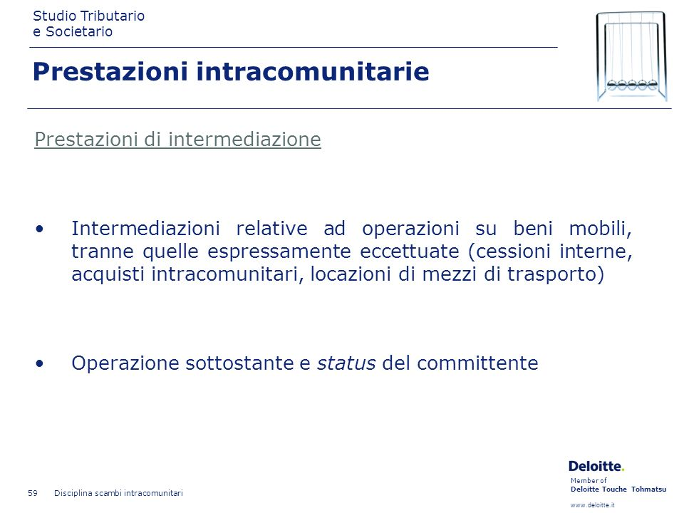 Member of Deloitte Touche Tohmatsu www.deloitte.it Studio Tributario e Societario Disciplina scambi intracomunitari 59 Prestazioni intracomunitarie Pr