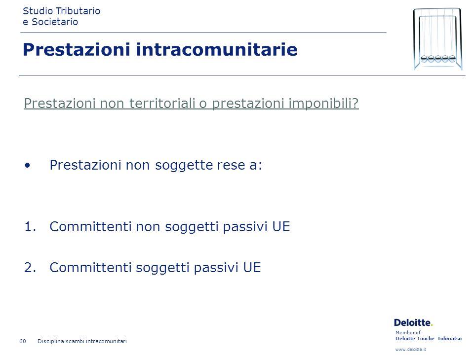 Member of Deloitte Touche Tohmatsu www.deloitte.it Studio Tributario e Societario Disciplina scambi intracomunitari 60 Prestazioni intracomunitarie Pr