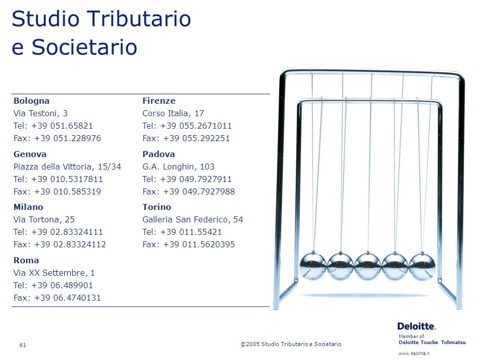 Member of Deloitte Touche Tohmatsu www.deloitte.it ©2005 Studio Tributario e Societario 61 Studio Tributario e Societario Bologna Via Testoni, 3 Tel: