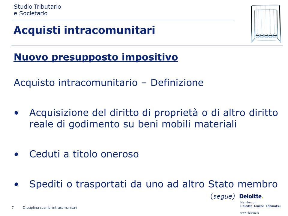 Member of Deloitte Touche Tohmatsu www.deloitte.it Studio Tributario e Societario Disciplina scambi intracomunitari 18 Introduzioni non caratterizzate da stabilità Registro di cui allart.