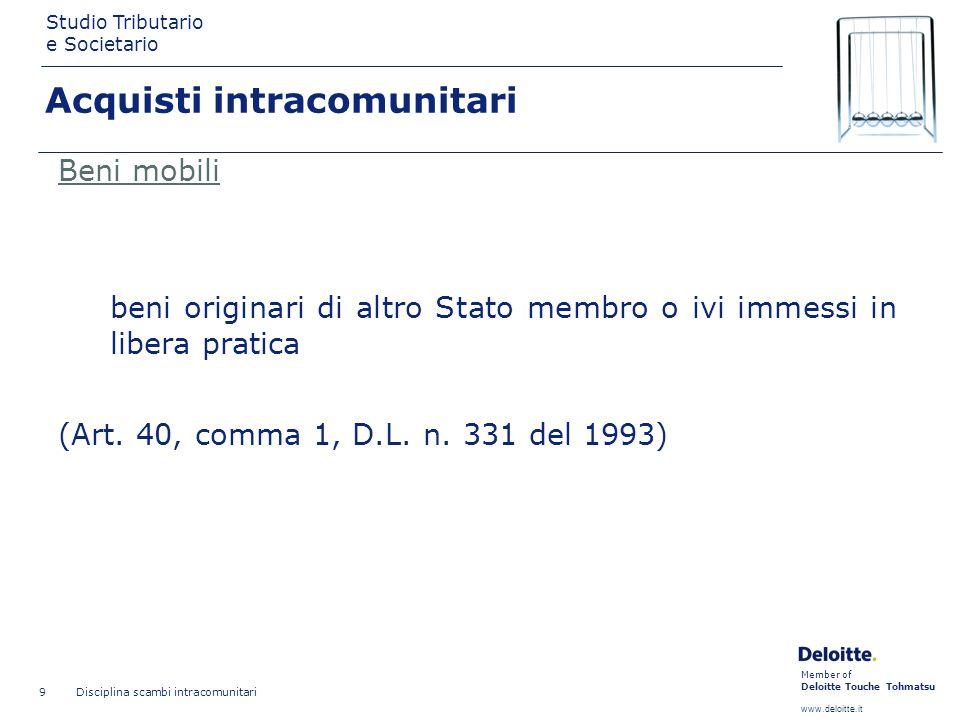Member of Deloitte Touche Tohmatsu www.deloitte.it Studio Tributario e Societario Disciplina scambi intracomunitari 9 Beni mobili beni originari di al