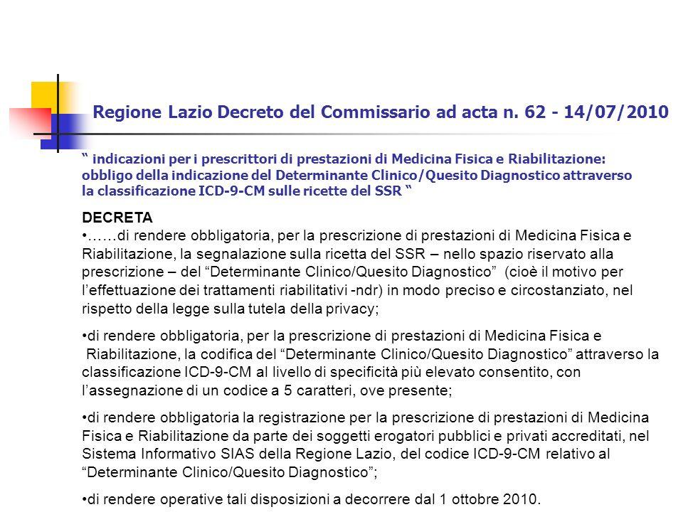 Regione Lazio Decreto del Commissario ad acta n. 62 - 14/07/2010 indicazioni per i prescrittori di prestazioni di Medicina Fisica e Riabilitazione: ob