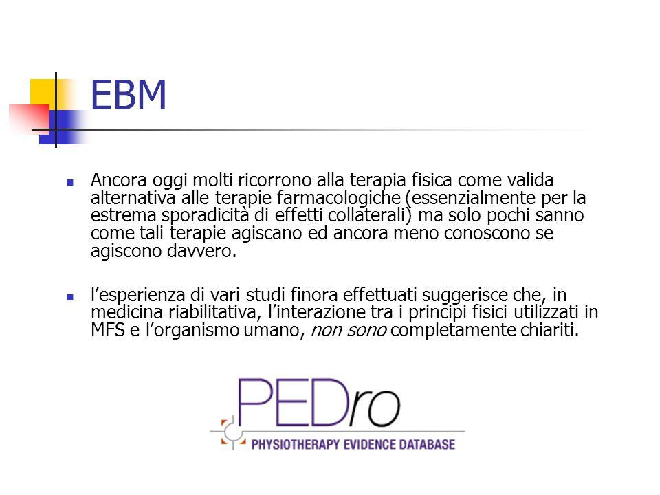 EBM Ancora oggi molti ricorrono alla terapia fisica come valida alternativa alle terapie farmacologiche (essenzialmente per la estrema sporadicità di