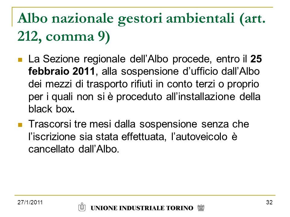 27/1/201132 Albo nazionale gestori ambientali (art. 212, comma 9) La Sezione regionale dellAlbo procede, entro il 25 febbraio 2011, alla sospensione d