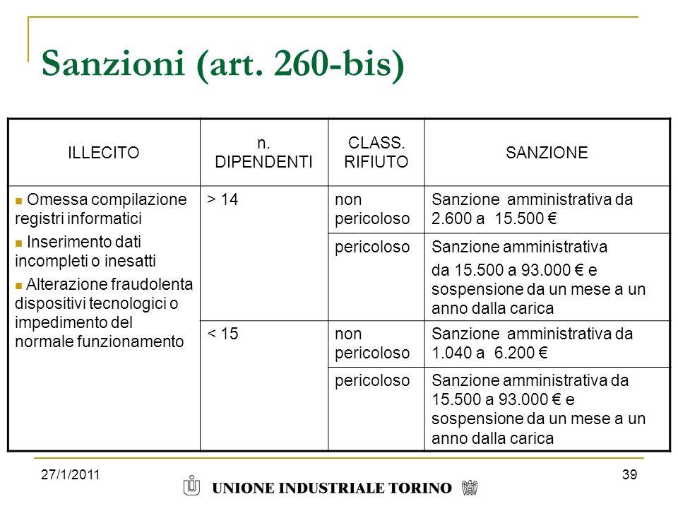 27/1/201139 Sanzioni (art. 260-bis) ILLECITO n. DIPENDENTI CLASS. RIFIUTO SANZIONE Omessa compilazione registri informatici Inserimento dati incomplet