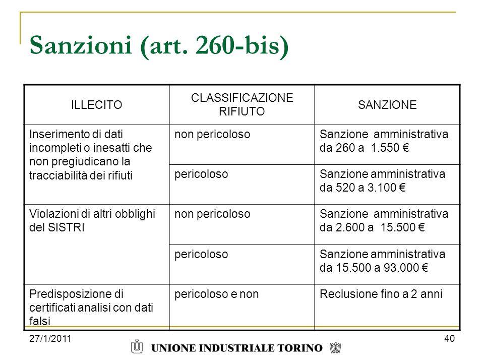 27/1/201140 Sanzioni (art. 260-bis) ILLECITO CLASSIFICAZIONE RIFIUTO SANZIONE Inserimento di dati incompleti o inesatti che non pregiudicano la tracci