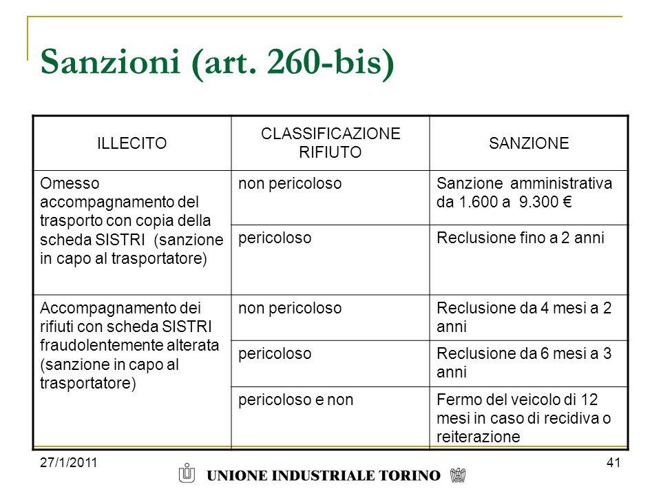 27/1/201141 Sanzioni (art. 260-bis) ILLECITO CLASSIFICAZIONE RIFIUTO SANZIONE Omesso accompagnamento del trasporto con copia della scheda SISTRI (sanz