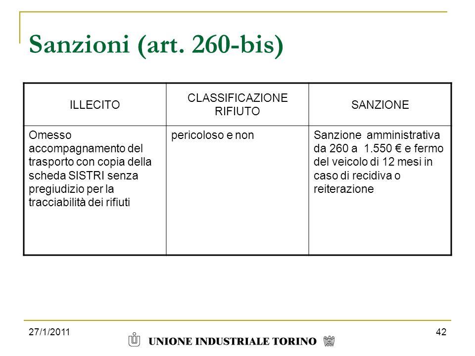 27/1/201142 Sanzioni (art. 260-bis) ILLECITO CLASSIFICAZIONE RIFIUTO SANZIONE Omesso accompagnamento del trasporto con copia della scheda SISTRI senza