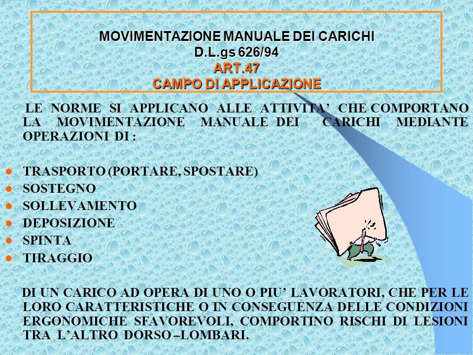 MOVIMENTAZIONE MANUALE DEI CARICHI D.lgs 626/ 94 ART.47 CAMPO DI APPLICAZIONE LE NORME DEL PRESENTE TITOLO SI APPLICANO ALLE ATTIVITA CHE COMPORTANO LA MOVIMENTAZIONE MANUALE DEI CARICHI CON RISCHI DI LESIONI TRA LALTRO DORSO LOMBARI PER I LAVORATORI DURANTE IL LAVORO.