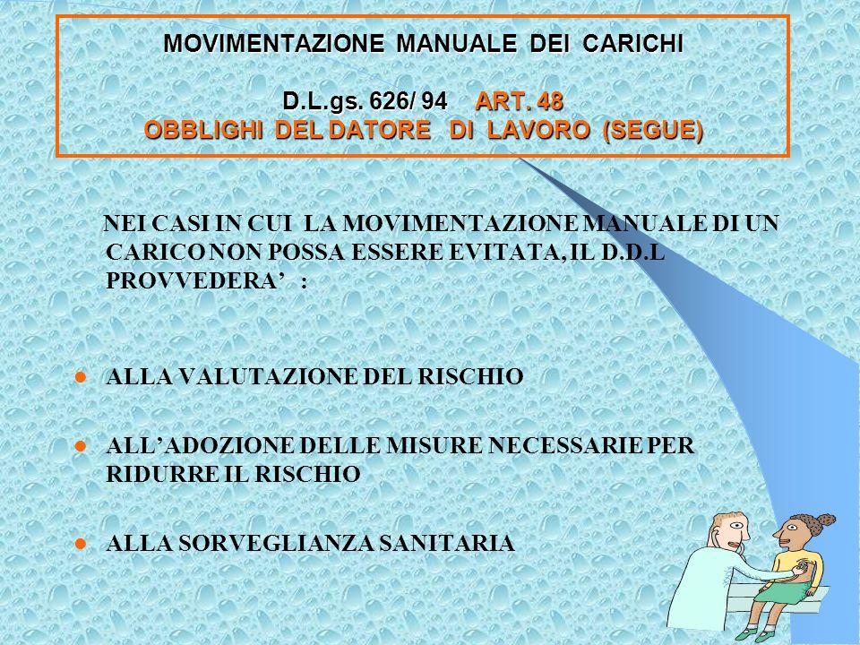 MOVIMENTAZIONE MANUALE DEI CARICHI D.L. gs. 626/ 94 ART.