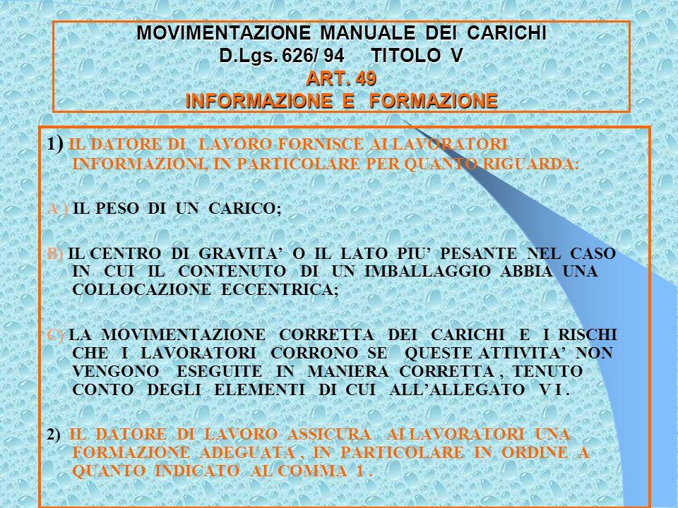 MOVIMENTAZIONE MANUALE DEI CARICHI D.L.gs.626/ 94 ART.
