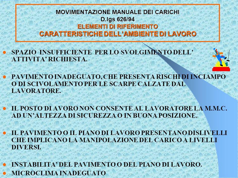 MOVIMENTAZIONE MANUALE DEI CARICHI D.lgs.