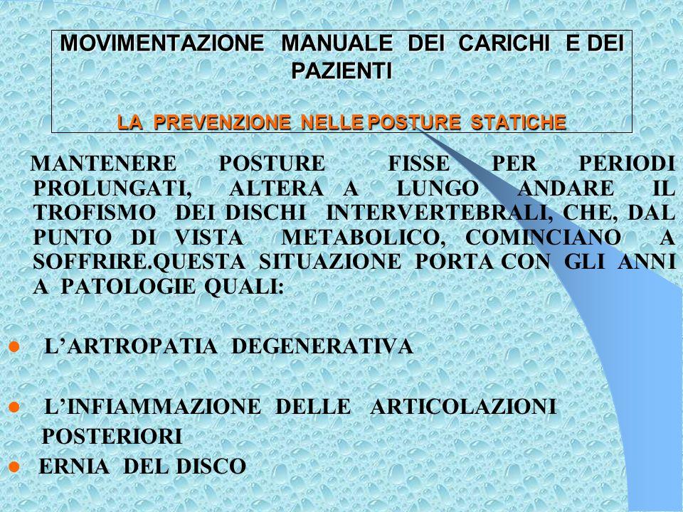 MOVIMENTAZIONE MANUALE DEI CARICHI E DEI PAZIENTI ATTIVITA CHE COMPORTANO POSTURE STATICHE PROLUNGATE PRELIEVI O MEDICAZIONI IGIENE DEL PAZIENTE A LETTO TRATTENIMENTO DEL PAZIENTE ROTOLATO SUL FIANCO DURANTE GLI INTERVENTI IN SALA OPERATORIA : PASSAGGIO DEI FERRI, SOSTENERE UN ARTO DEL PAZIENTE ECC.