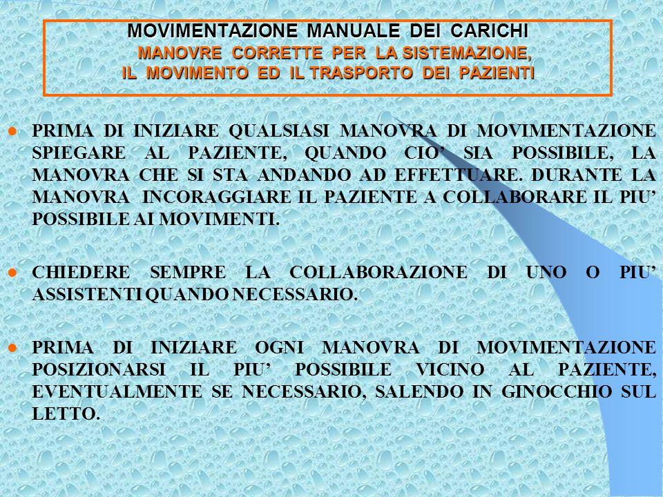 MOVIMENTAZIONE MANUALE DEI CARICHI RICORDA : RIUSCIRE AD INDIVIDUARE IN OGNI PAZIENTE TUTTE LE POSSIBILITA RESIDUE DI COLLABORAZIONE.