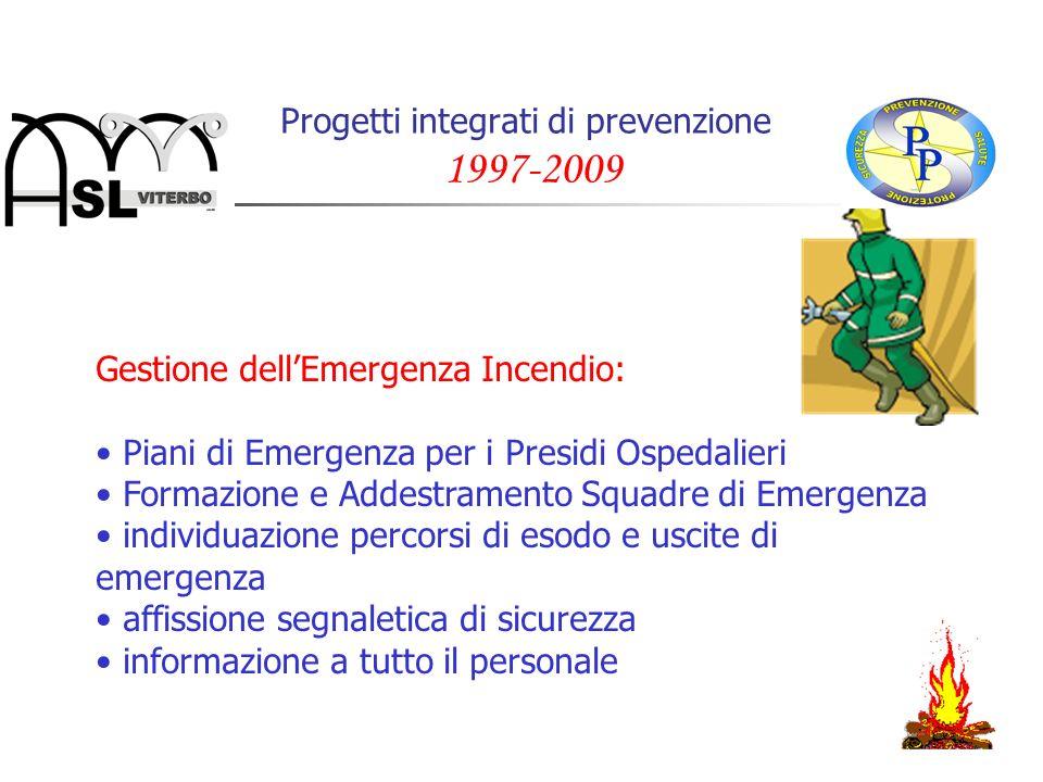 Progetti integrati di prevenzione 1997-2009 Gestione dellEmergenza Incendio: Piani di Emergenza per i Presidi Ospedalieri Formazione e Addestramento S