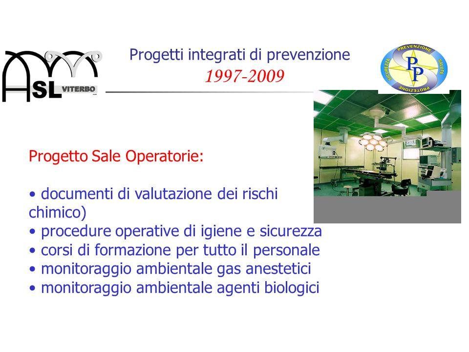 Progetti integrati di prevenzione 1997-2009 Progetto Sale Operatorie: documenti di valutazione dei rischi (biologico, chimico) procedure operative di
