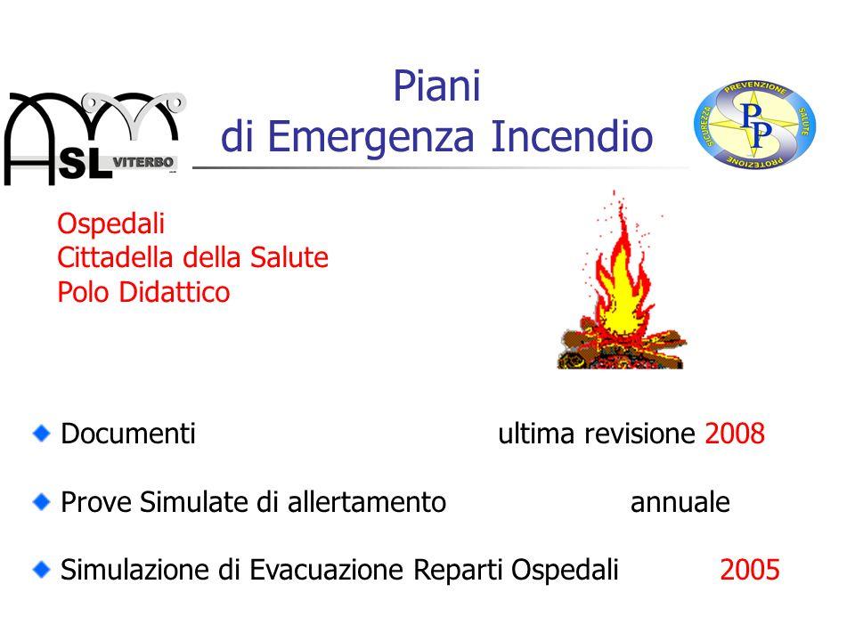 Progetti integrati di prevenzione 1997-2009 Gestione dellEmergenza Incendio: Piani di Emergenza per i Presidi Ospedalieri Formazione e Addestramento Squadre di Emergenza individuazione percorsi di esodo e uscite di emergenza affissione segnaletica di sicurezza informazione a tutto il personale