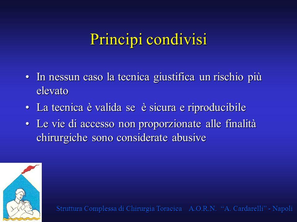Struttura Complessa di Chirurgia Toracica A.O.R.N. A. Cardarelli - Napoli Principi condivisi In nessun caso la tecnica giustifica un rischio più eleva