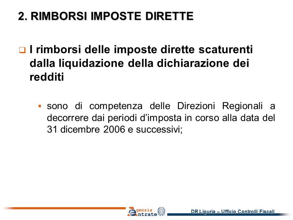 DR Liguria – Ufficio Controlli Fiscali 2.