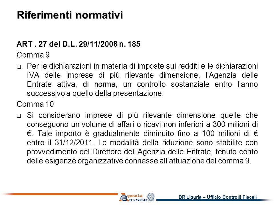 DR Liguria – Ufficio Controlli Fiscali Riferimenti normativi ART.
