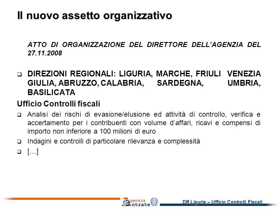 DR Liguria – Ufficio Controlli Fiscali Il nuovo assetto organizzativo ATTO DI ORGANIZZAZIONE DEL DIRETTORE DELLAGENZIA DEL 27.11.2008 DIREZIONI REGIONALI: LIGURIA, MARCHE, FRIULI VENEZIA GIULIA, ABRUZZO, CALABRIA, SARDEGNA, UMBRIA, BASILICATA Ufficio Controlli fiscali Analisi dei rischi di evasione/elusione ed attività di controllo, verifica e accertamento per i contribuenti con volume daffari, ricavi e compensi di importo non inferiore a 100 milioni di euro Indagini e controlli di particolare rilevanza e complessità […]