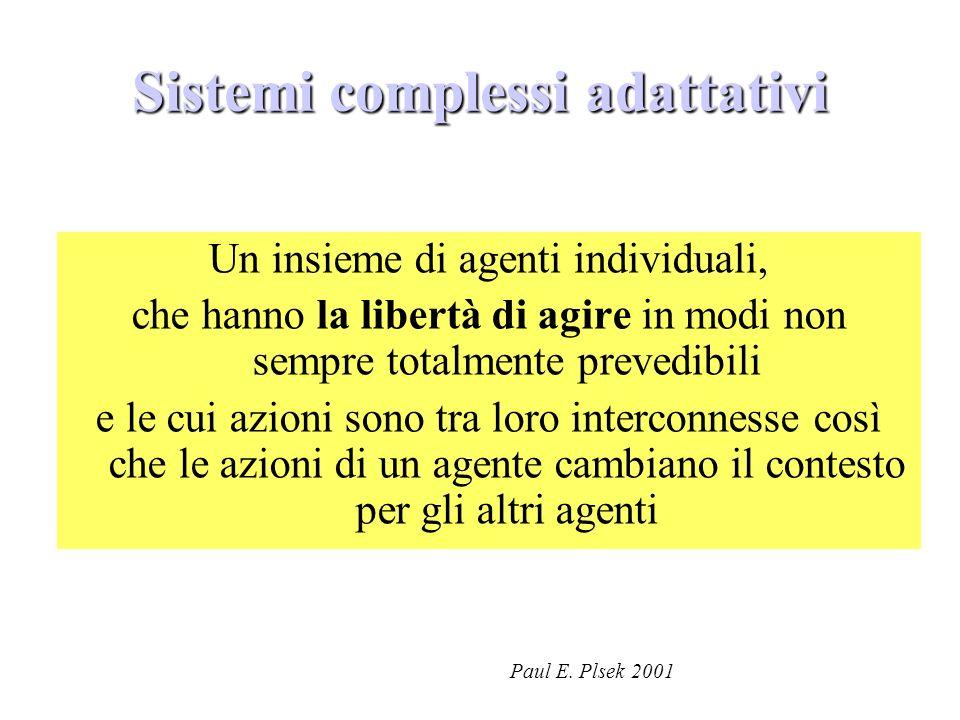 Un insieme di agenti individuali, che hanno la libertà di agire in modi non sempre totalmente prevedibili e le cui azioni sono tra loro interconnesse così che le azioni di un agente cambiano il contesto per gli altri agenti Paul E.