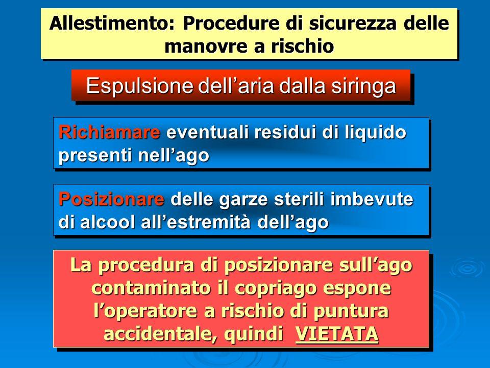 Allestimento: Procedure di sicurezza delle manovre a rischio Espulsione dellaria dalla siringa Posizionare delle garze sterili imbevute di alcool alle