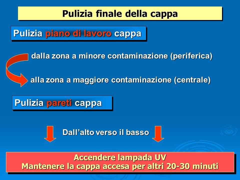 alla zona a maggiore contaminazione (centrale) dalla zona a minore contaminazione (periferica) Pulizia finale della cappa Pulizia piano di lavoro capp