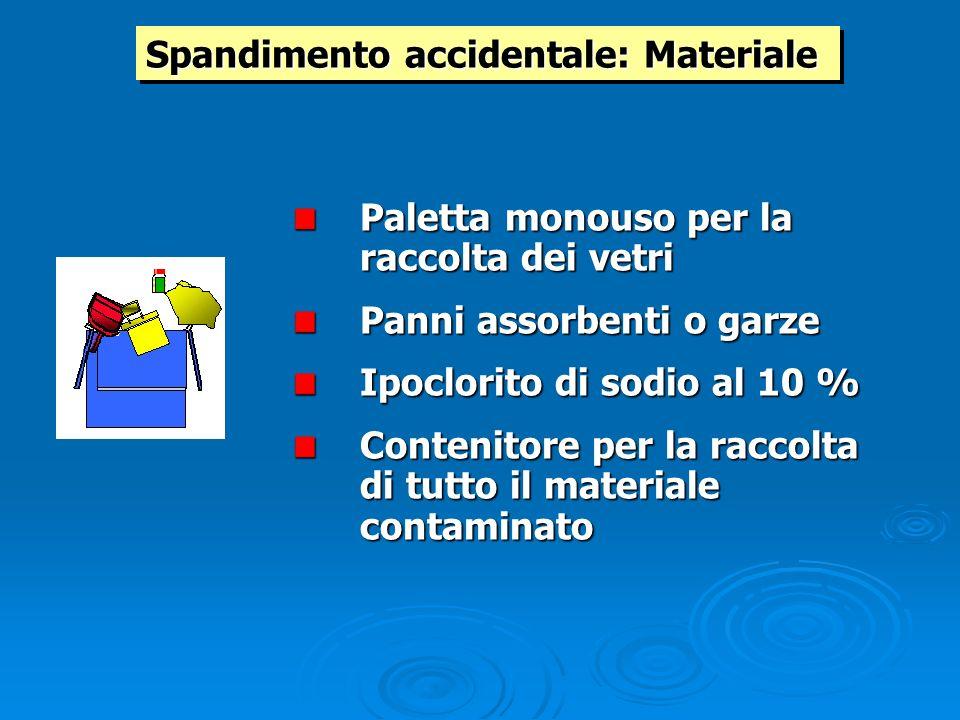 Spandimento accidentale: Materiale Paletta monouso per la raccolta dei vetri Panni assorbenti o garze Ipoclorito di sodio al 10 % Contenitore per la r