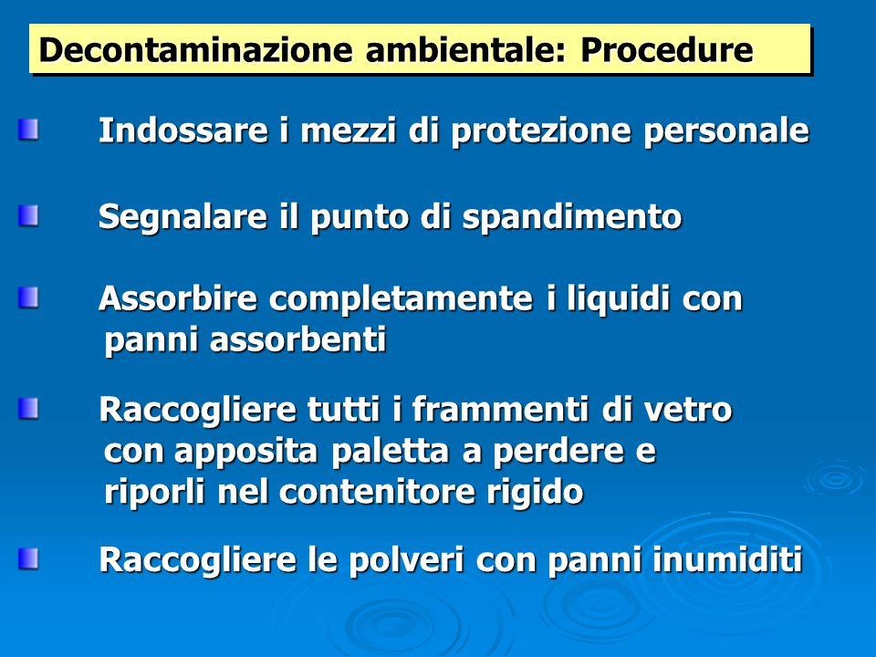 Decontaminazione ambientale: Procedure Indossare i mezzi di protezione personale Segnalare il punto di spandimento Raccogliere tutti i frammenti di ve