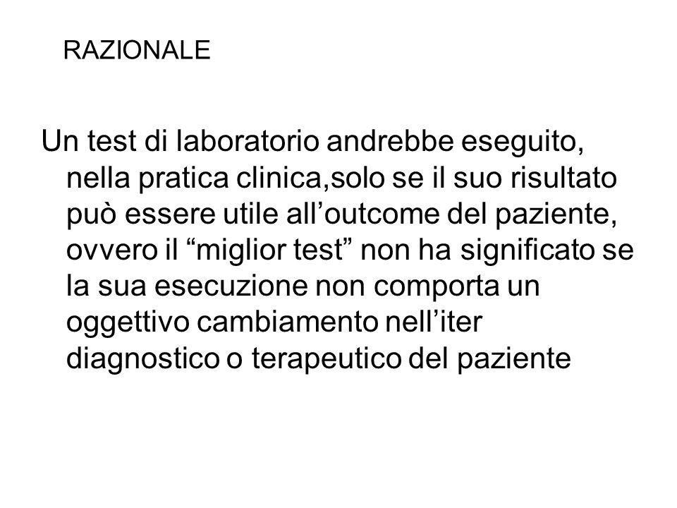 Un test di laboratorio andrebbe eseguito, nella pratica clinica,solo se il suo risultato può essere utile alloutcome del paziente, ovvero il miglior t