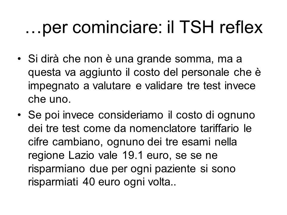 …per cominciare: il TSH reflex Si dirà che non è una grande somma, ma a questa va aggiunto il costo del personale che è impegnato a valutare e validar