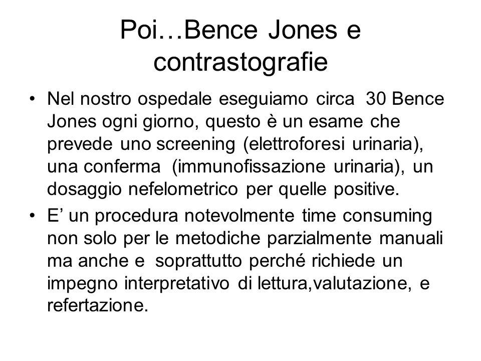 Poi…Bence Jones e contrastografie Nel nostro ospedale eseguiamo circa 30 Bence Jones ogni giorno, questo è un esame che prevede uno screening (elettro
