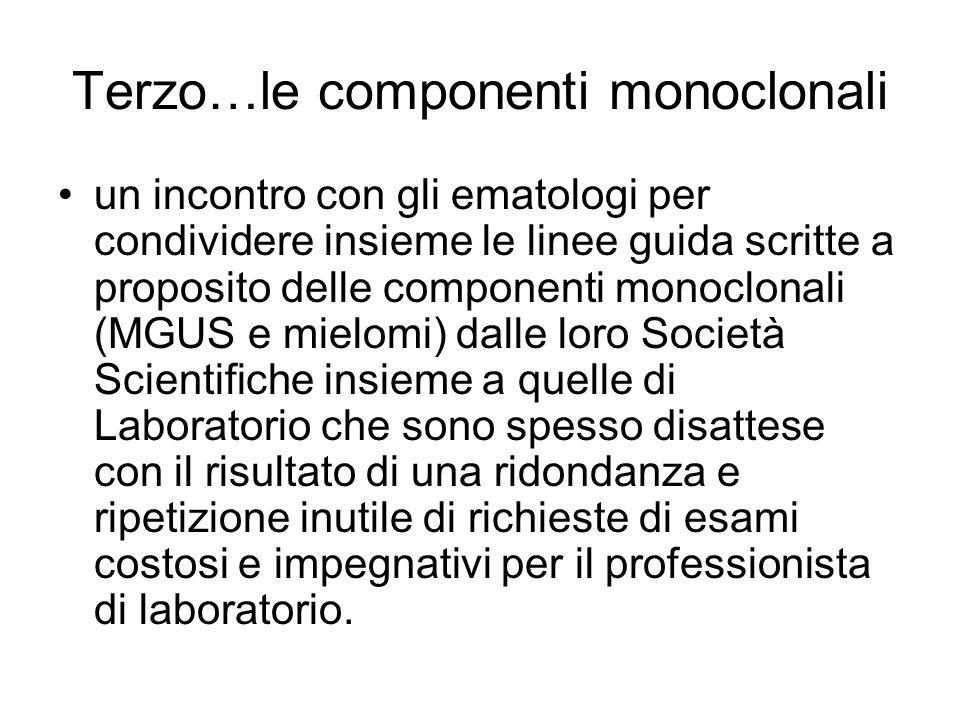 Terzo…le componenti monoclonali un incontro con gli ematologi per condividere insieme le linee guida scritte a proposito delle componenti monoclonali