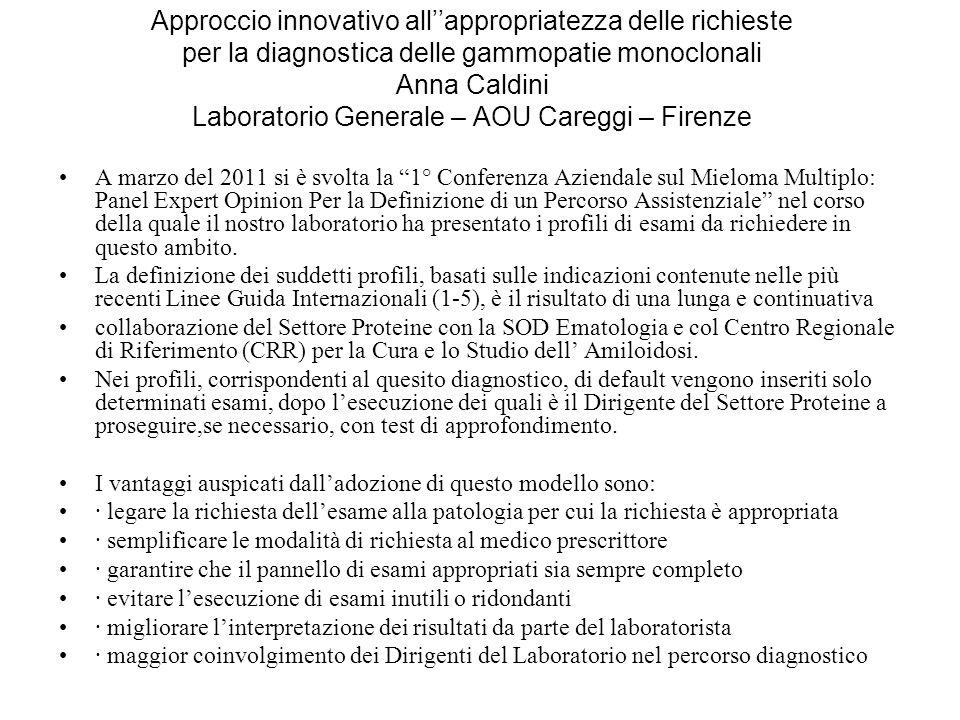 Approccio innovativo allappropriatezza delle richieste per la diagnostica delle gammopatie monoclonali Anna Caldini Laboratorio Generale – AOU Careggi