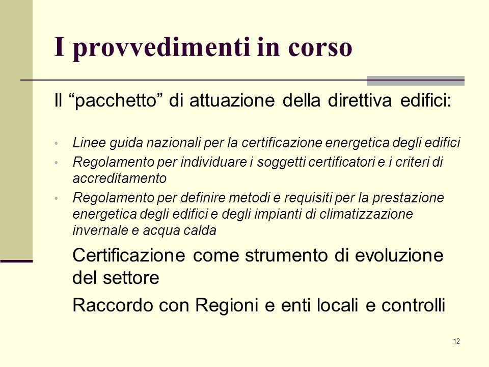12 I provvedimenti in corso Il pacchetto di attuazione della direttiva edifici: Linee guida nazionali per la certificazione energetica degli edifici R