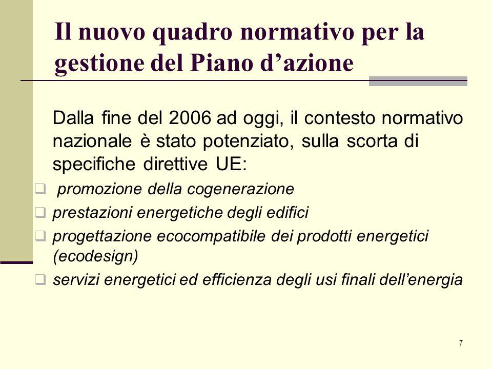 7 Il nuovo quadro normativo per la gestione del Piano dazione Dalla fine del 2006 ad oggi, il contesto normativo nazionale è stato potenziato, sulla s