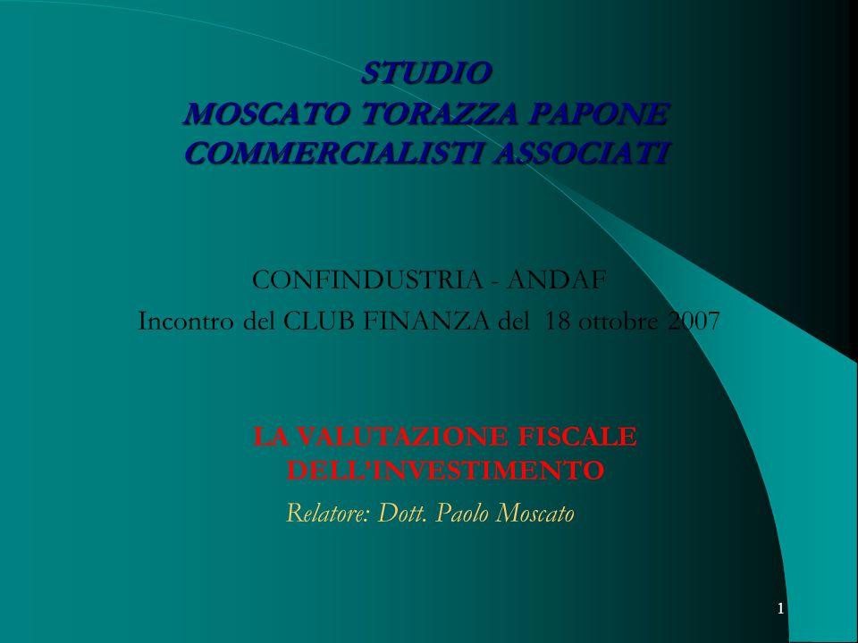 1 STUDIO MOSCATO TORAZZA PAPONE COMMERCIALISTI ASSOCIATI CONFINDUSTRIA - ANDAF Incontro del CLUB FINANZA del 18 ottobre 2007 LA VALUTAZIONE FISCALE DE