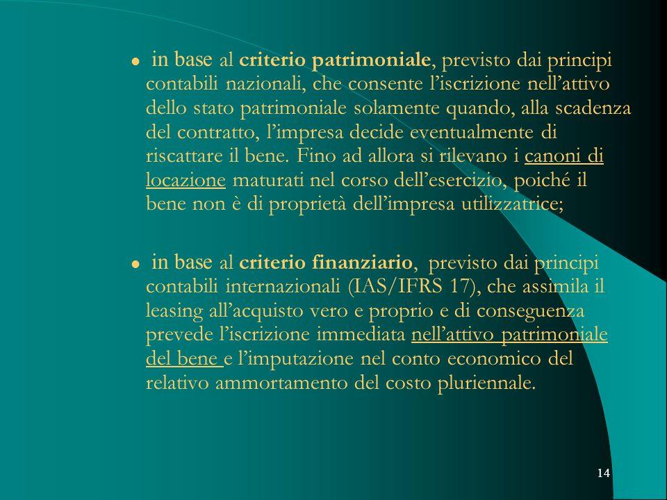 14 in base al criterio patrimoniale, previsto dai principi contabili nazionali, che consente liscrizione nellattivo dello stato patrimoniale solamente