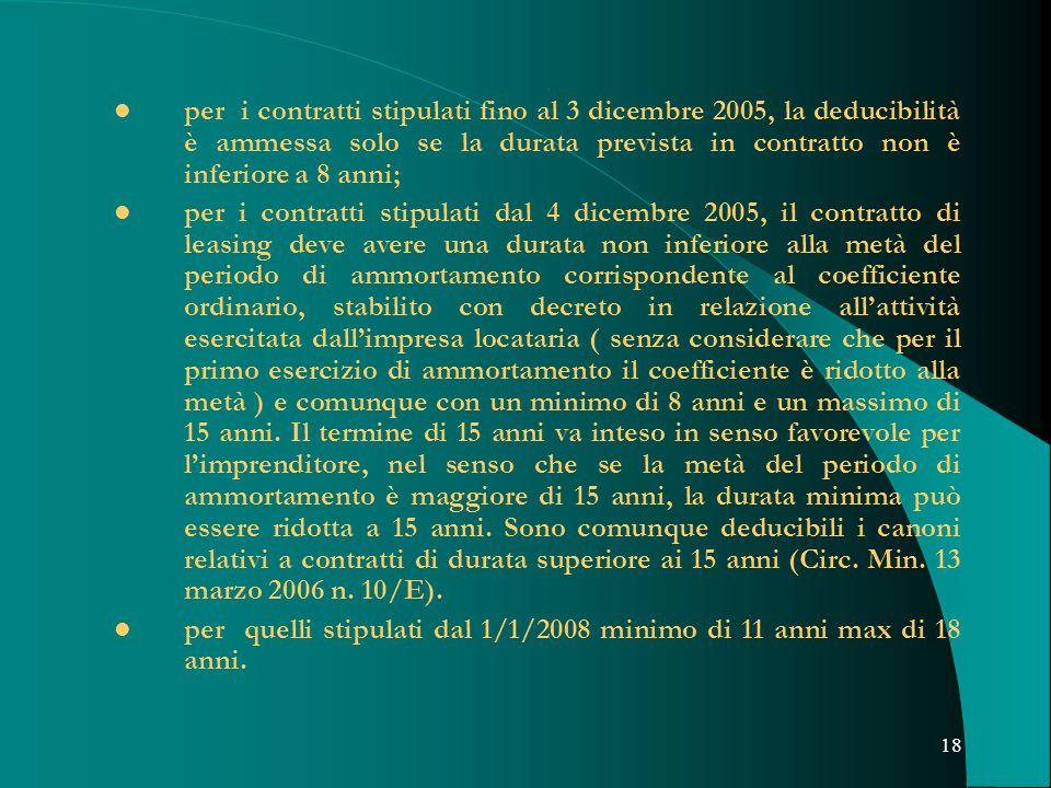 18 per i contratti stipulati fino al 3 dicembre 2005, la deducibilità è ammessa solo se la durata prevista in contratto non è inferiore a 8 anni; per