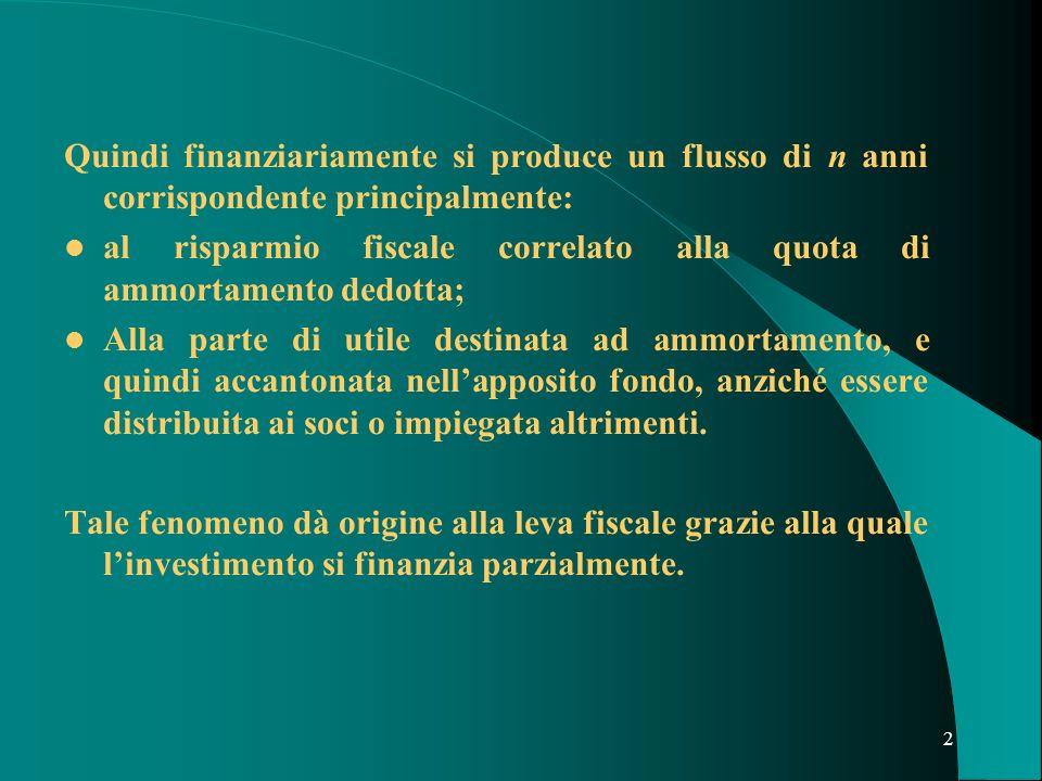2 Quindi finanziariamente si produce un flusso di n anni corrispondente principalmente: al risparmio fiscale correlato alla quota di ammortamento dedo