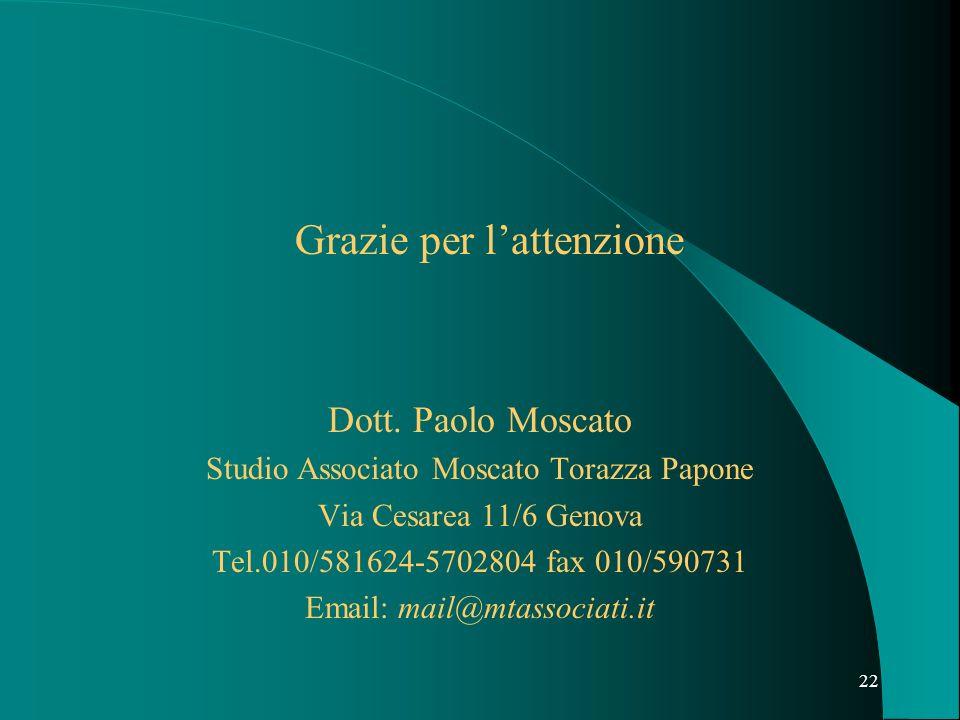 22 Grazie per lattenzione Dott. Paolo Moscato Studio Associato Moscato Torazza Papone Via Cesarea 11/6 Genova Tel.010/581624-5702804 fax 010/590731 Em