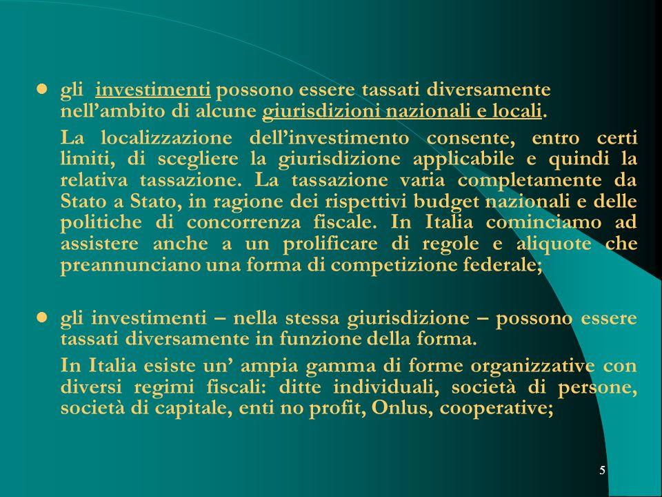 5 gli investimenti possono essere tassati diversamente nellambito di alcune giurisdizioni nazionali e locali. La localizzazione dellinvestimento conse